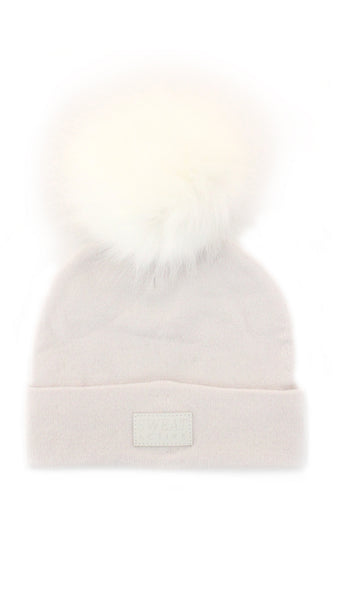 Cashmere and Fur Pom Pom Beanie Hat - Pearl