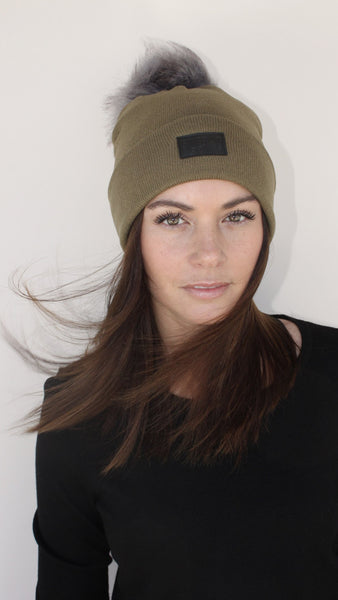 Cashmere and Fur Pom Pom Beanie Hat - Army Green
