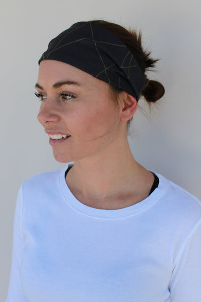 Sport Headwrap - Black/Army Green Slash