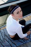 Sport Headband - Black/White Stripe
