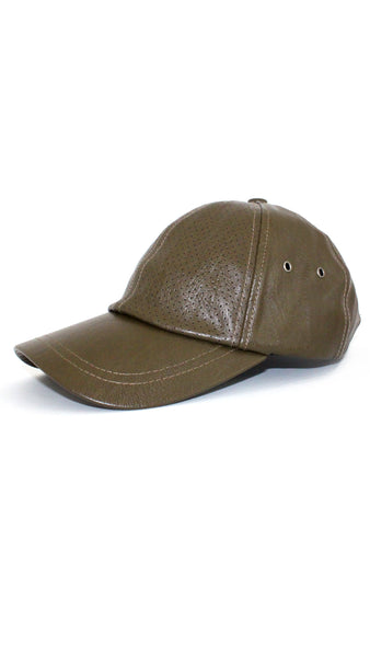 Leather Baseball Cap - Army Green