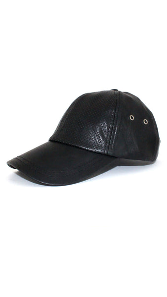 Leather Baseball Cap - Black