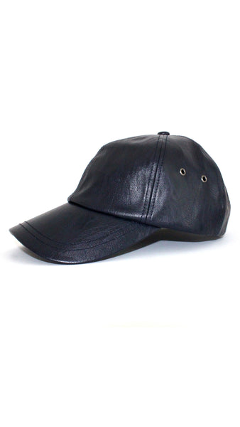 Leather Baseball Cap - Midnight