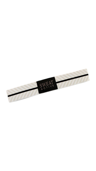 Sport Headband - White/Pearl Chevron