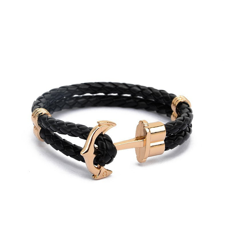 Gold Anchor Braid Bracelet - Style Nation Singapore