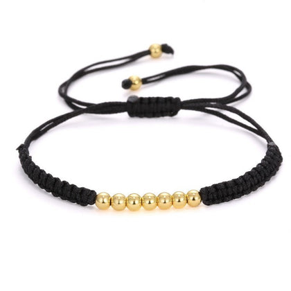 Macrame Bracelet with Metallic Beads (Gold)