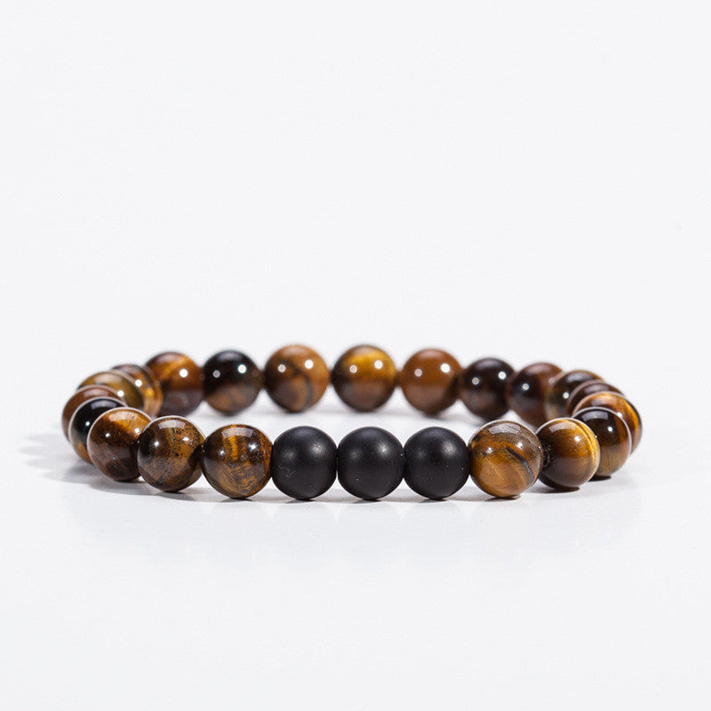 Tiger Eye Bracelet with Trio Matt Black
