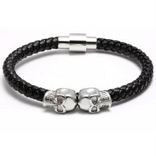 Twin Skull in Silver and Black Nappa Leather Bracelet - Style Nation Singapore