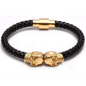 Twin Skull in Gold and Black Nappa Leather Bracelet - Style Nation Singapore