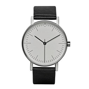 Minimalist Watch - White/Silver Frame/Black Strap - Style Nation Singapore