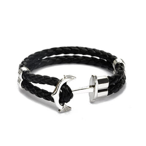 Silver Anchor Braid Bracelet - Style Nation Singapore