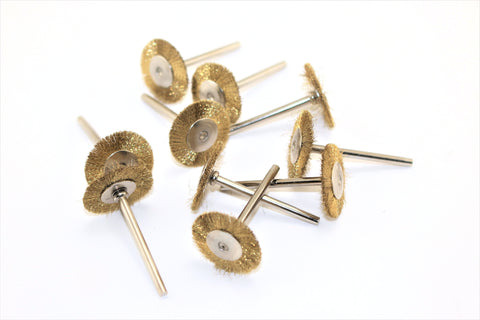 "TEMO 10pc Brass Rotary 3/4"" FLAT Wire Brush Wheel #535 fit Dremel or Compatible Rotary Tool"