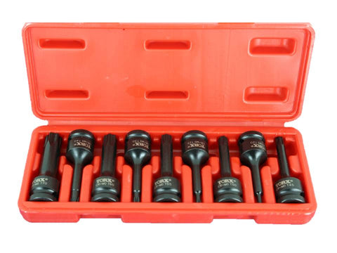 "TEMO 9pc 3"" Long Tamper Proof Torx Star 6 point Black Impact Bit Socket Set Auto Repair Tool GC"