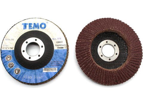 TEMO 10 PC 4-1/2 inch (114mm) Grit 60 Coarse FLAP DISCS Sanding WHEEL GC