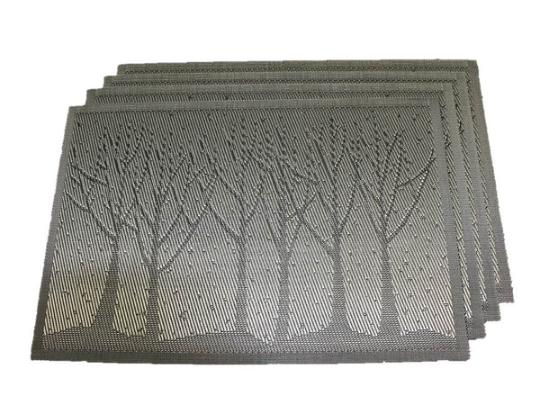 TEMO 4pc PVC Heat Resistant Table Mats for Kitchen Dining Table, Washable Place Mats [Silver woods]