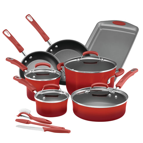 14 Piece Rachael Ray Cookware Set Brights Porcelain Enamel Red