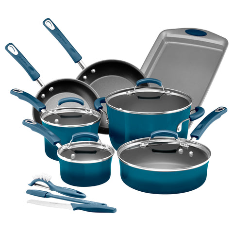 14 Pc Rachael Ray Cookware Set Brights Porcelain Enamel Marine Blue.