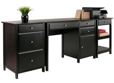 Winsome Wood Delta 3-Pc Home Office Set in Black - Pier 54 Home and Outdoor