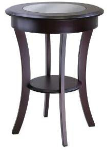 Winsome Wood, Cassie Round Accent Table with Glass