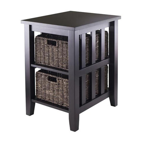 Morris Side Table with 2 Foldable Baskets - Pier 54 Home and Outdoor