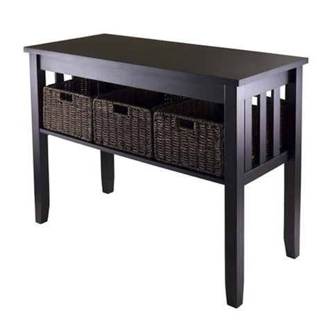 Morris Console Hall Table with 3 Foldable Baskets