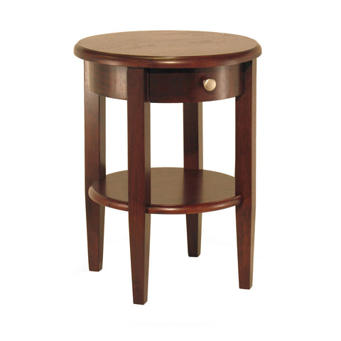 Concord Round End Table with Drawer and Shelf - Pier 54 Home and Outdoor