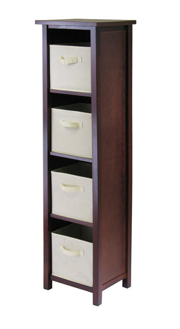 Verona 4-Section N Storage Shelf with 4 Foldable Beige Color Fabric Baskets