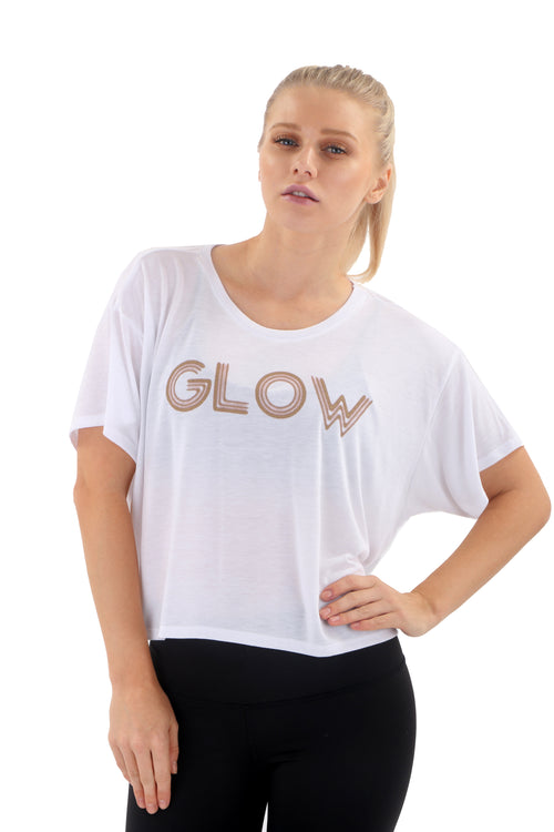 """GLOW"" Women's Box Tee - White"