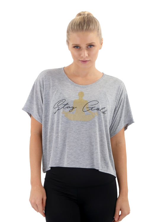 """STAY GOLD"" Women's Box Tee - Heather Grey"