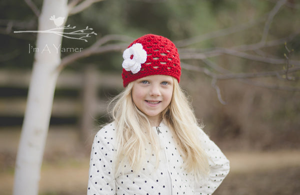 Red Flower Hat - I'm A Yarner