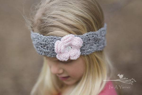 Gray and Pink Baby Headband