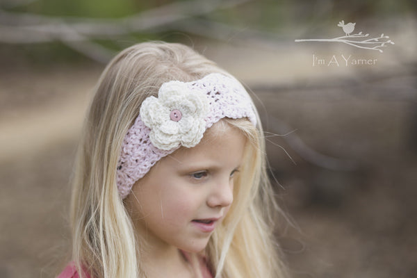 Pink and White Headband for Girls