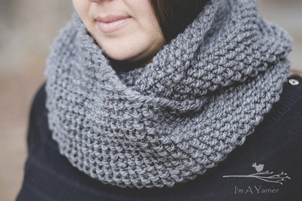 Hand Knit Gray Cowl