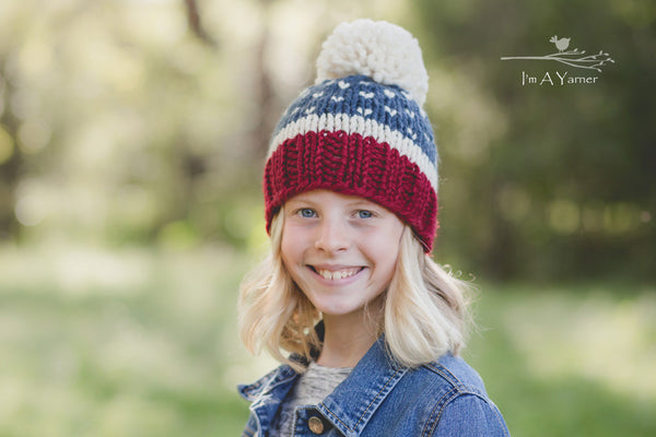 Fourth of July Pom Pom Hat - I'm A Yarner