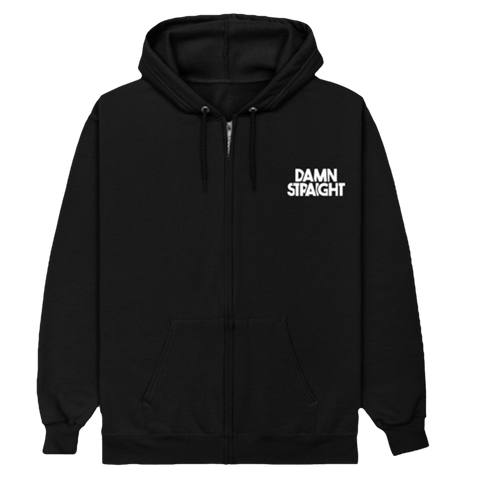 Damn Straight Zip Up Hoodie - Printed Logo