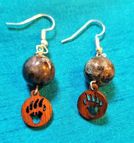 Black Labradorite Bear Paw Dangles