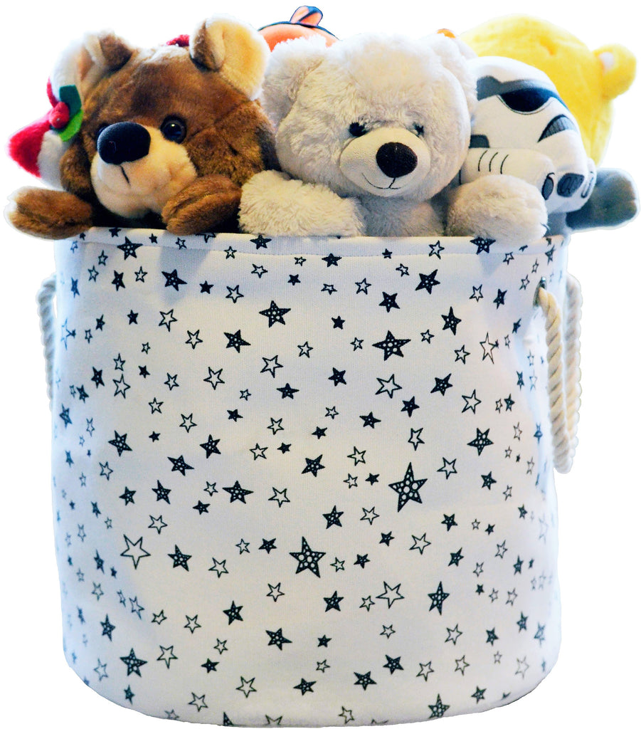 Large Eco Friendly Canvas Toy Storage Baskets Storage Bins Nursery Bins  With Handles (White