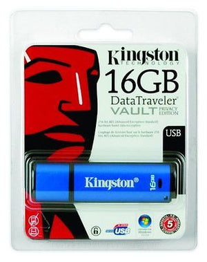Kingston DataTraveler Vault Privacy Edition 16 GB USB 2.0 Flash Drive DTVP/16GB -  - 1