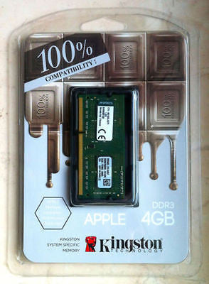 Kingston Apple Macbook iMAC RAM 4GB 1600MHz DDR3 1.35v PC3-12800 KTA-MB1600L/4G -