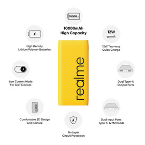 realme 10000mAh 18W Quick Charge Li-Polymer Power Bank 2i  Slim Design, Dual Input Ports