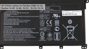 HP TF03XL HT03XL battery for Pavilion X360 14-CD 14-CE 14-CF 14-CW, Pavilion 14-BF, 14-BK, 15-DA,15-CC, 15-CD, 15-CK