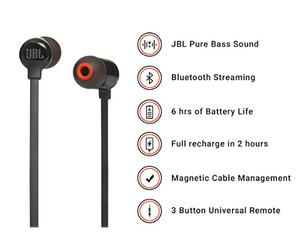 JBL T160BT Pure Bass Wireless in-Ear Headphones with Mic Mix Color