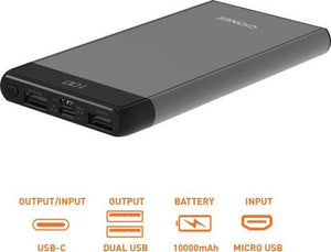GIONEE 10000 mAh Power Bank (15 W, Fast Charging)  Grey, Lithium Polymer With Digital Display