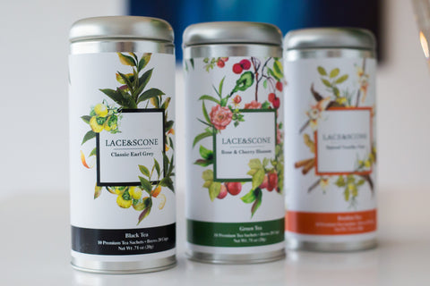 Lace & Scone tall tea tins