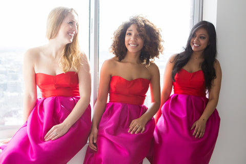 Lace & Scone strapless pink red bridesmaid cocktail dresses