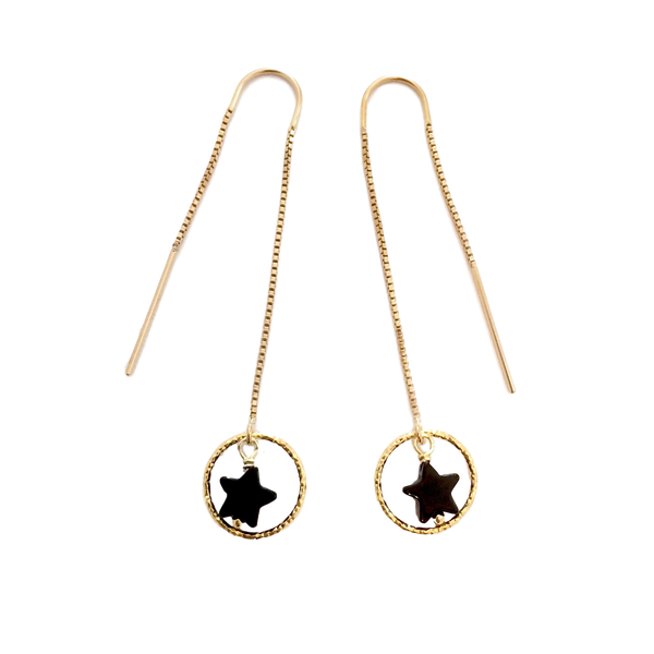 Black Star Drop Chain Earrings