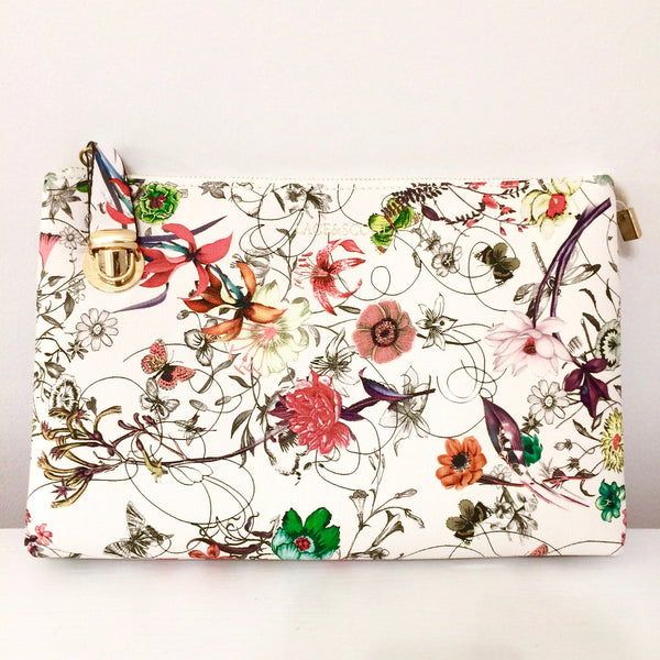 Lace and Scone large white floral bride's bridal City Safe clutch with locking zupper
