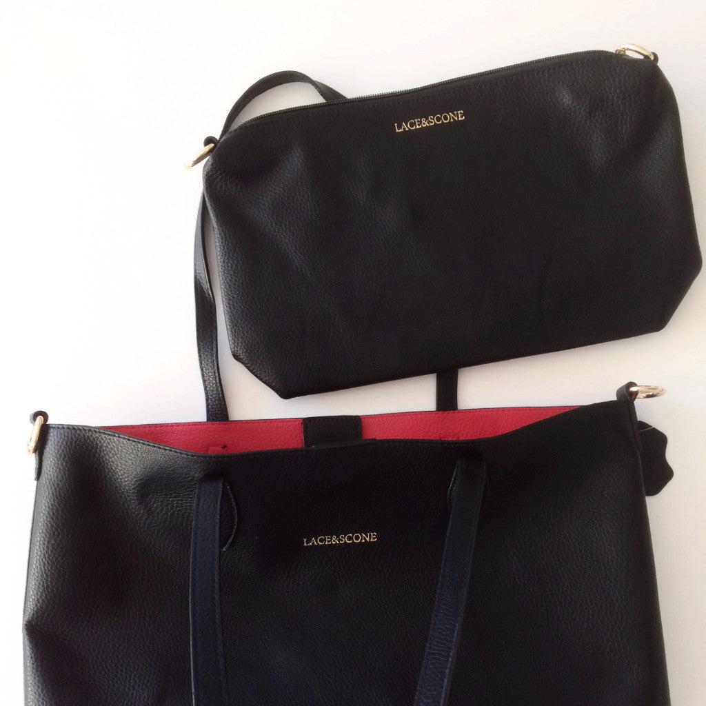 Lace and Scone Black and Red Carry-all Tote