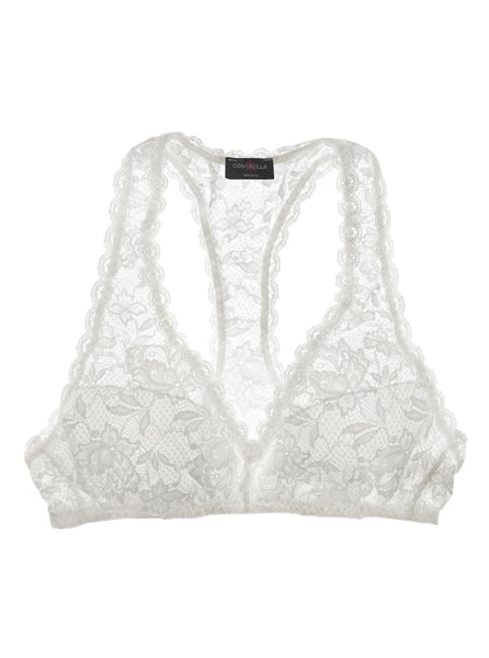 White Never Say Never Racie Racerback Lace Bra