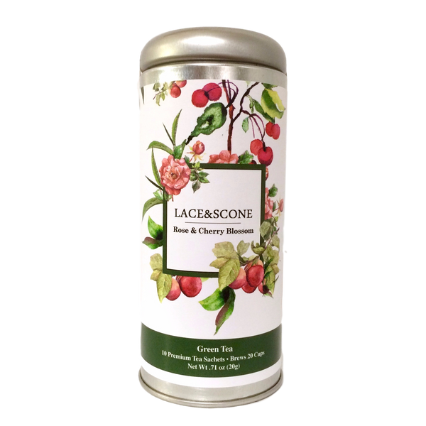 Rose and Cherry Blossom Green Tea Tall Tin
